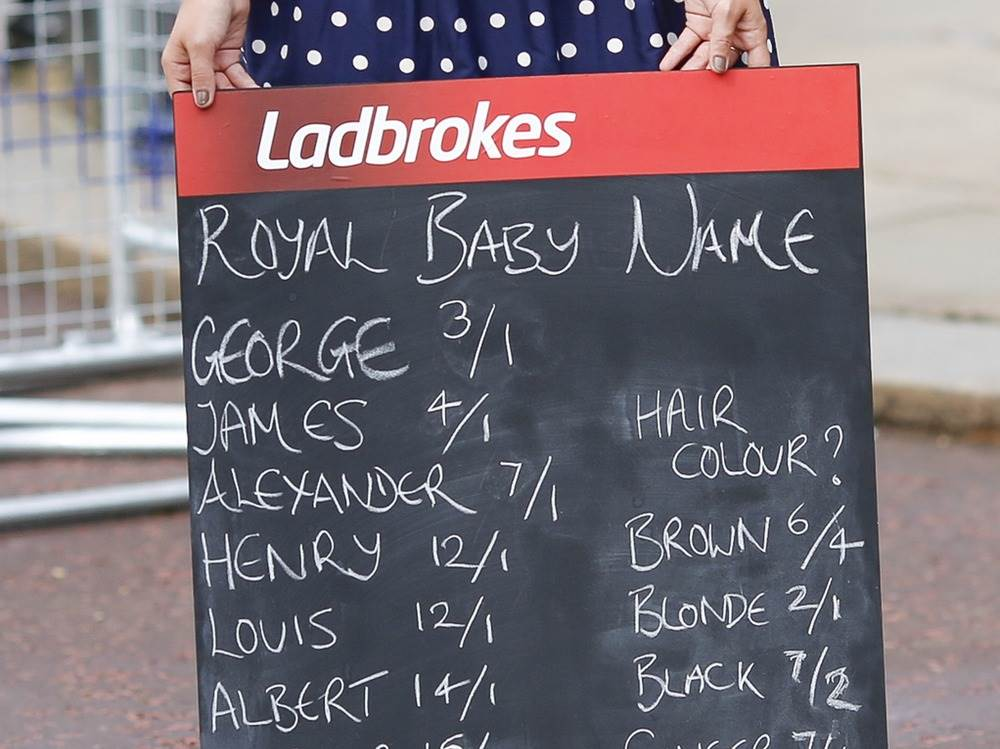 "Britain' title='Britain' /></div> <p> Ladbrokes, one of Britain's largest bookmakers, estimated it had taken more than £360,000 in royal bets two days after the birth. </p> <p> ""It has been the most popular market we have ever offered, outside of sporting events,"" David Williams, head of public relations at Ladbrokes, told CNBC. ""The appetite has been unprecedented."" </p> <p> He said interest spiked after the birth: ""Since then it's gone into meltdown."" </p> <p> Those feeling lucky could pick from names including George—the favorite at 2-to-1—and more unusual options like Elvis, Barack and even Psy, after the South Korean pop sensation. </p> <p> Williams said the royal parents had a ""particular appeal"" to the public. </p> <p> ""It's a perfect storm,"" he said. ""You have a royal couple, fantastic weather and some great news. When all these things come together, people are prepared to have a flutter."" </p> <div style='text-align:center;"